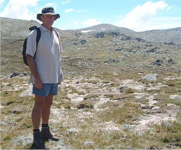 The intrepid climber approaches the summit of Mount Kosciuszko
