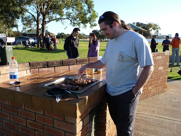 Adrian at the BBQ beside the Swan River
