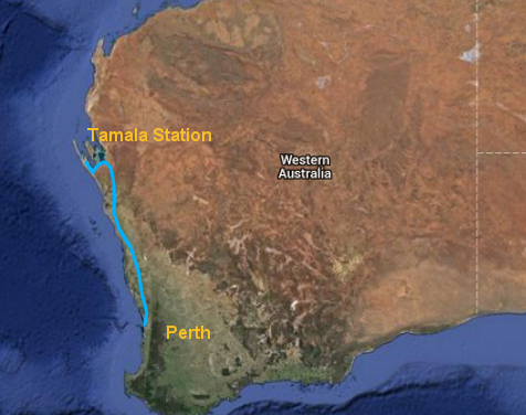 Perth to Shark Bay route