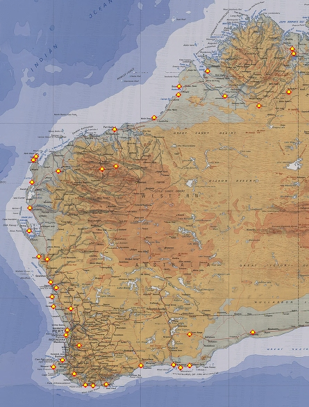 Camping locations in Western Australia